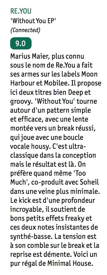 Re.You 'Without You' Review DJ Mag France